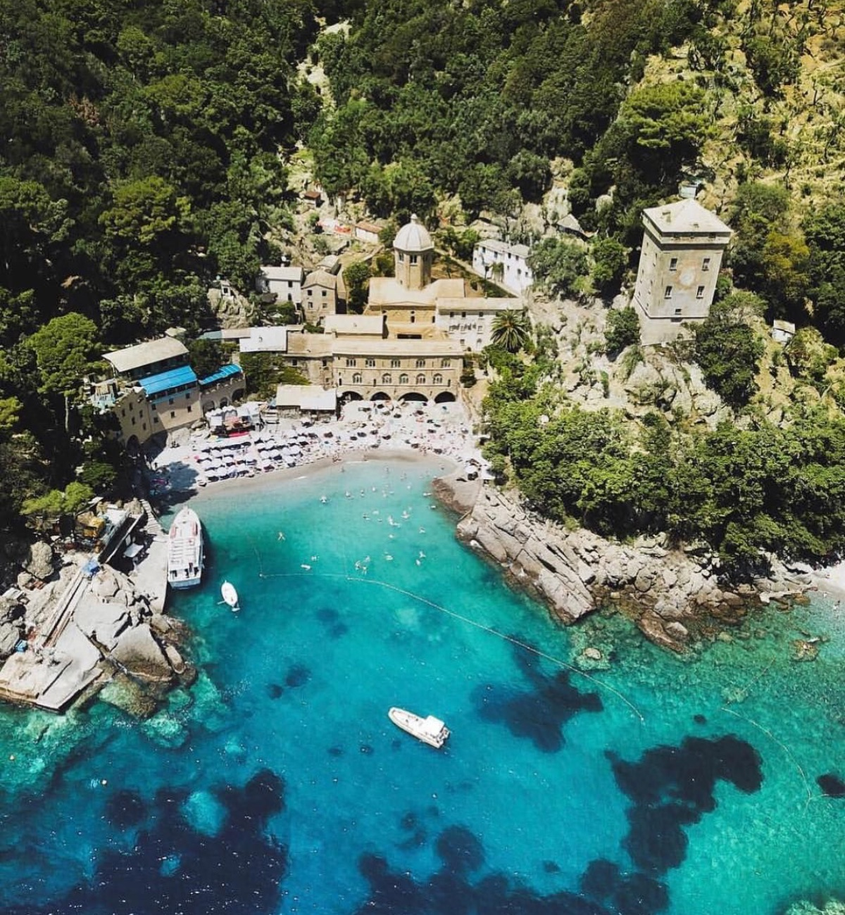 Abbey of San Fruttuoso panorama